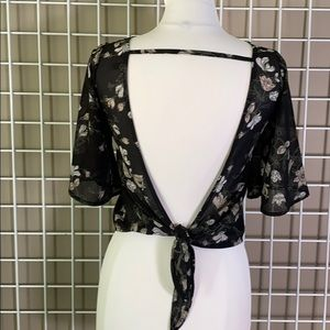 AEO Don't Ask Why Floral Chiffon Tie Back Blouse